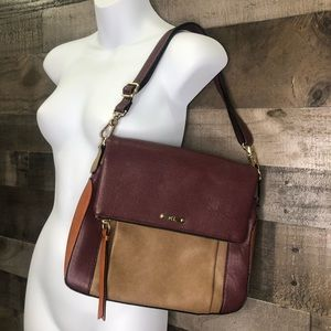 Kate Landry Maroon and Tan Foldover Purse